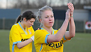 Steph Mann leads the applause for the travelling fans after the Women's FA Cup match between Charlton Athletic WFC and Crystal Palace LFC at Sporting Club Thamesmead, Thamesmead, United Kingdom on 8 March 2015. Photo by Michael Hulf.