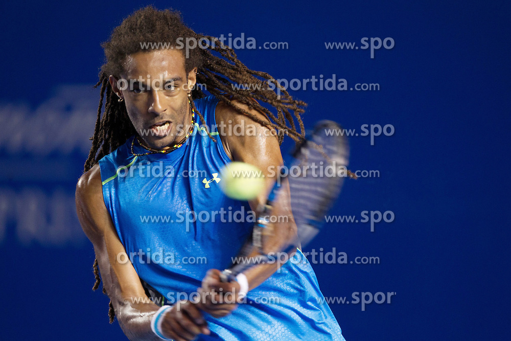 Germany's Dustin Brown returns the ball to South Africa's Kevin Anderson during the men's single match at the Abierto Mexicano Telcel tennis tournament in Acapulco, Guerrero state, Mexico, on Feb. 23, 2015. Dustin Brown lost the match 0-2 (da). EXPA Pictures &copy; 2015, PhotoCredit: EXPA/ Photoshot/ [e]Alejandro Ayala<br /> <br /> *****ATTENTION - for AUT, SLO, CRO, SRB, BIH, MAZ only*****