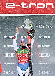 27.10.2018, Rettenbach Ferner, Sölden, AUT, FIS Weltcup Ski Alpin, Sölden, Riesenslalom, Damen, Siegerpräsentation, im Bild Tessa Worley (FRA) // Tessa Worley (FRA) during the winner presentation for the ladie's Giant Slalom of the FIS Ski Alpine Worldcup opening at the Rettenbach Ferner in Sölden, Austria on 2018/10/27. EXPA Pictures © 2018, PhotoCredit: EXPA/ SM<br /> <br /> *****ATTENTION - OUT of GER*****
