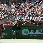 March 19, 2016, Palm Springs, CA:<br /> Milos Raonic in action against David Goffin in the men's semi-final match during the 2016 BNP Paribas Open at the Indian Wells Tennis Garden in Indian Wells, California Saturday, March 19, 2016.<br /> (Photos by Billie Weiss/BNP Paribas Open)