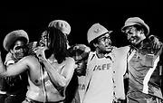 Jacob Miller with gang leaders Aston Bucky Marshall , Tek Life and Claudie Massop at the 1978 peace concert - Jamaica