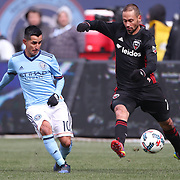 NEW YORK, NEW YORK - March 12:  Maximiliano Moralez #10 of New York City FC is challenged by Marcelo Sarvas #7 of D.C. United during the NYCFC Vs D.C. United regular season MLS game at Yankee Stadium on March 12, 2017 in New York City. (Photo by Tim Clayton/Corbis via Getty Images)