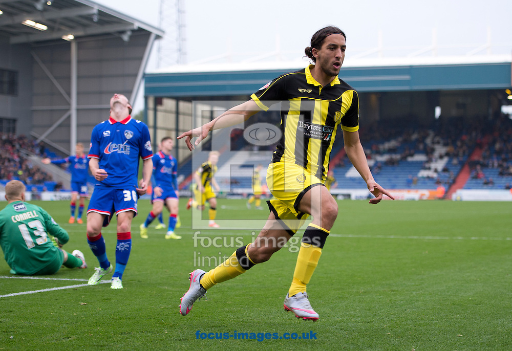 Abdenasser El Khayati of Burton Albion celebrates after scoring his team's 1st goal to make it 1-0 during the Sky Bet League 1 match at Boundary Park, Oldham<br /> Picture by Russell Hart/Focus Images Ltd 07791 688 420<br /> 31/10/2015
