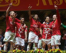 MOSCOW, RUSSIA - Wednesday, May 21, 2008: Manchester United's Nemanja Vidic, Nani, Anderson, Carlos Tevez and Wayne Rooney celebrate after beating Chelsea on sudden death penalties during the UEFA Champions League Final at the Luzhniki Stadium. (Photo by David Rawcliffe/Propaganda)