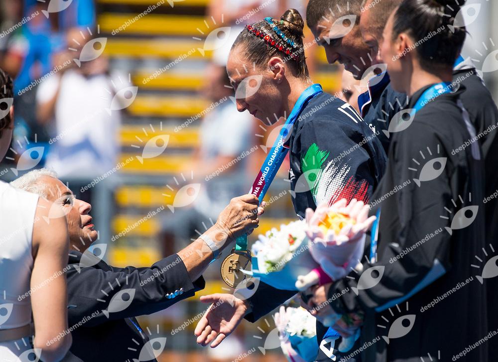 Medal ceremony with FINA delegate TUDINI Cicci ITA<br /> Synchronised swimming , Synchro<br /> mixed duet tecnhical final<br /> 17/07/2017 <br /> XVII FINA World Championships Aquatics<br /> City Park - Varosliget Lake<br /> Photo @ Giorgio Perottino/Deepbluemedia/Insidefoto