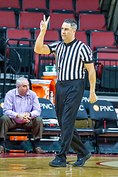 NORMAL, IL - November 20:  Referee Kalei Enterline signals 2 shots during a college women's basketball game between the ISU Redbirds and the Huskies of Northern Illinois November 20 2019 at Redbird Arena in Normal, IL. (Photo by Alan Look)