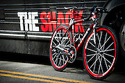 The bike of Levi Leipheimer of the United States leans against the Team Radioshack bus prior to the start of stage two of the 2011 AMGEN Tour of California from Nevada City to Sacramento in Nevada City, Calif. on Monday, May 16, 2011.