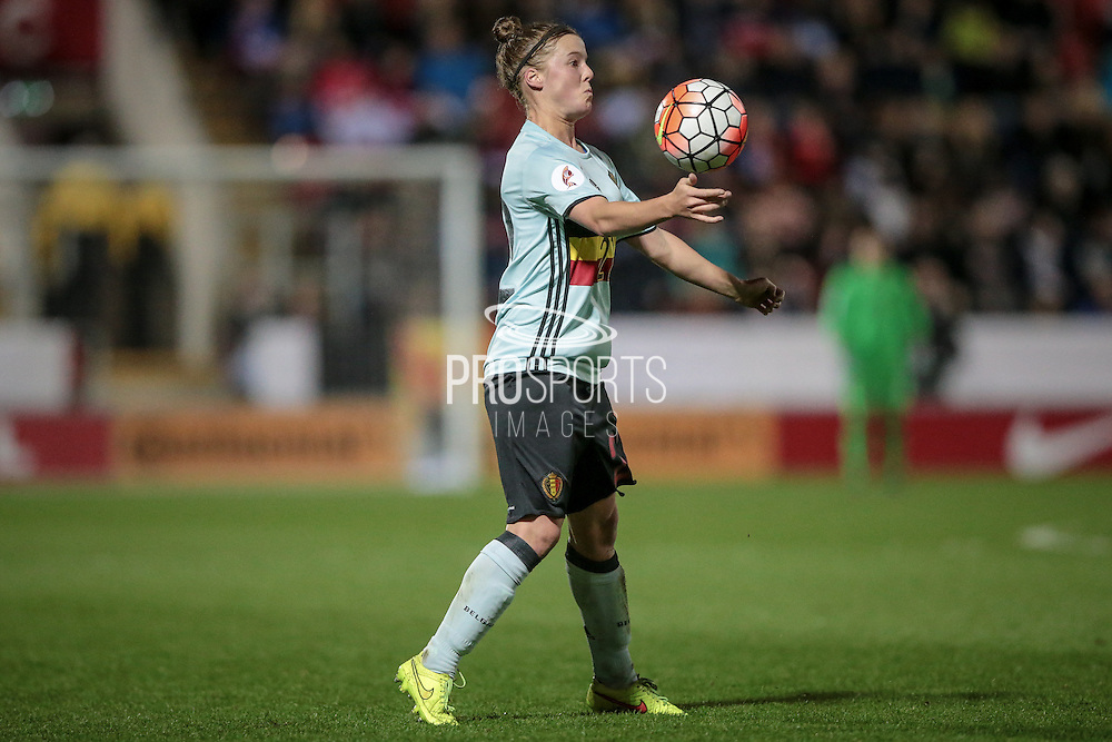 Laura Deloose (Belgium) controls the ball during the Euro 2017 qualifier between England Ladies and Belgium Ladies at the New York Stadium, Rotherham, England on 8 April 2016. Photo by Mark P Doherty.