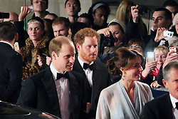 William Duke of Cambridge, Prince Harry, Kate Duchess of Cambridge, Bond: Spectre - World Premiere & Royal Film Performance, Royal Albert Hall, London UK, 26 October 2015, Photo by Richard Goldschmidt