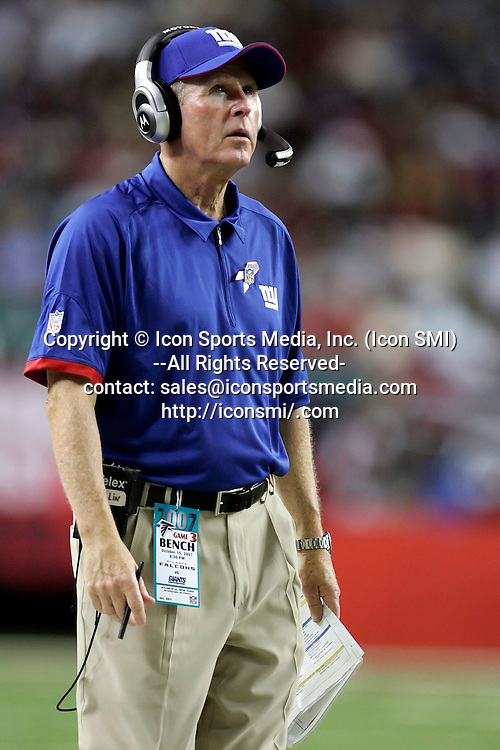 15 October 2007:New York Giants head coach Tom Coughlin in the New York Giants 31-10 victory over the Atlanta Falcons  at the Georgia Dome in Atlanta Georgia.