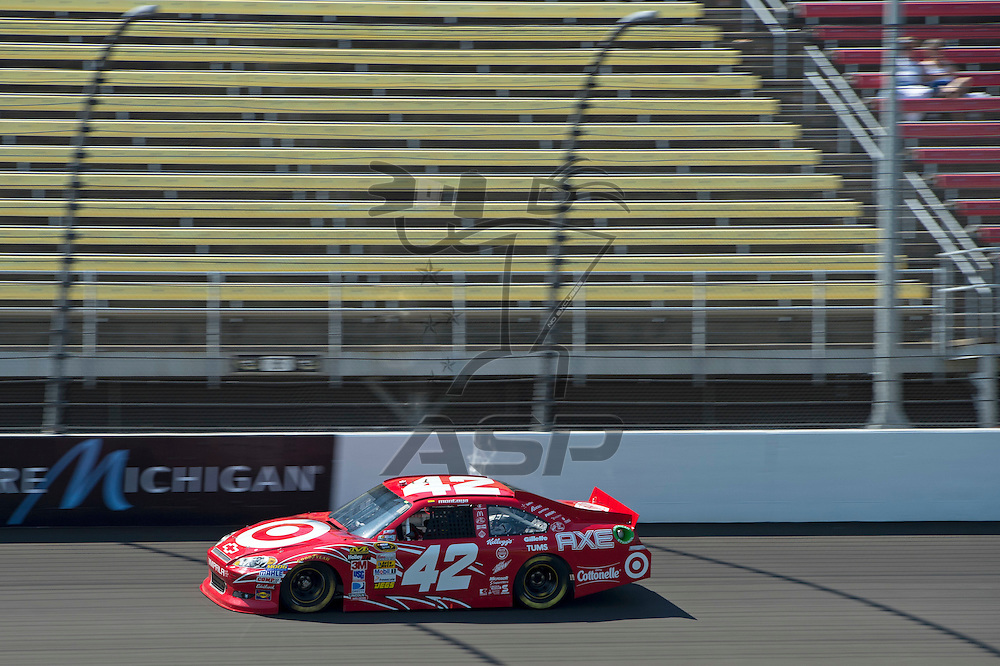 Brooklyn, MI - JUN 15, 2012: Juan Pablo Montoya (42) driving during a practice session for the Quicken Loans 400, at Michigan International Speedway, Brooklyn, MI.