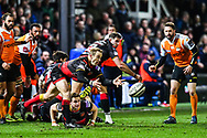 Dragons' Sarel Pretorius in action during todays match<br /> <br /> Photographer Craig Thomas/Replay Images<br /> <br /> Guinness PRO14 Round 18 - Dragons v Cheetahs - Friday 23rd March 2018 - Rodney Parade - Newport<br /> <br /> World Copyright © Replay Images . All rights reserved. info@replayimages.co.uk - http://replayimages.co.uk