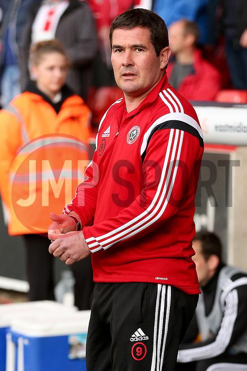 Sheffield United Manager, Nigel Clough  - Photo mandatory by-line: Matt McNulty/JMP - Mobile: 07966 386802 - 07/05/2015 - SPORT - Football - Sheffield - Bramall Lane - Sheffield United v Swindon Town - Sky Bet League One
