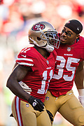 San Francisco 49ers wide receiver Marquise Goodwin (11) and San Francisco 49ers strong safety Eric Reid (35) celebrate a touchdown against the New York Giants at Levi's Stadium in Santa Clara, Calif., on November 12, 2017. (Stan Olszewski/Special to S.F. Examiner)
