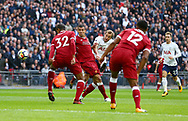Harry Kane of Tottenham scores the opening goal during the Premier League match between Tottenham Hotspur and Liverpool at Wembley Stadium in London. 22 Oct 2017<br /> *** EDITORIAL USE ONLY *** No merchandising. For Football images FA and Premier League restrictions apply inc. no internet/mobile usage without FAPL license - for details contact Football Dataco