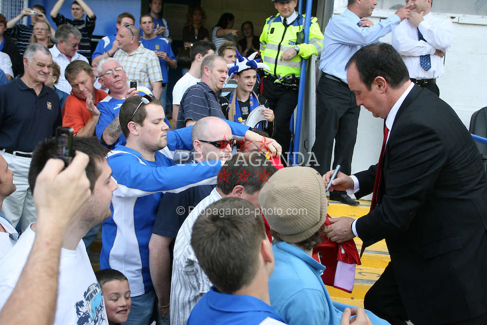 Portsmouth, England: Saturday, April 28, 2007: Liverpool's Rafa Benitez signs autographs before the game against Portsmouth during the Premiership match at Fratton Park (Pic by Chris Ratcliffe/Propaganda)