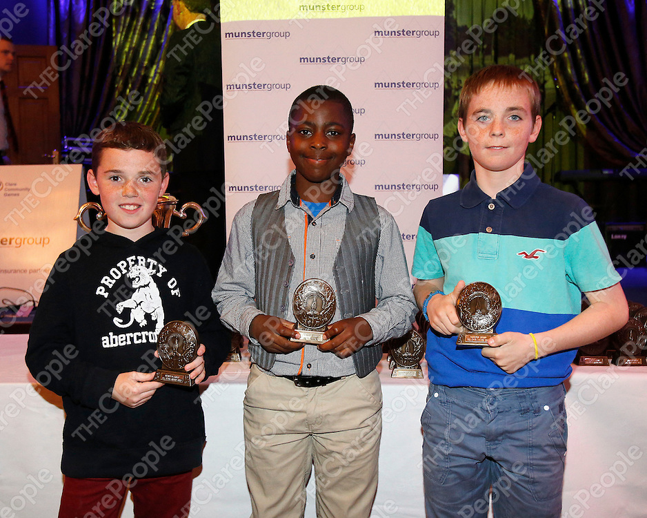 18/08/2013<br /> Daithi Lohan, Shannon pictured with Andrew Ugwueru and Conor McDaid, Ennis at Community Games All Stars Awards Ceremony which took place at the West County Hotel Ennis. <br /> Picture: Don Moloney / Press 22