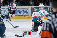 KELOWNA, CANADA - JANUARY 24: Colton Sissons #15 of the Kelowna Rockets blocks a shot by the  Seattle Thunderbirds at the Kelowna Rockets on January 24, 2013 at Prospera Place in Kelowna, British Columbia, Canada (Photo by Marissa Baecker/Shoot the Breeze) *** Local Caption ***