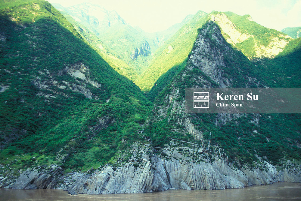 Steep mountains along the Three Gorges of the Yangtze River, China