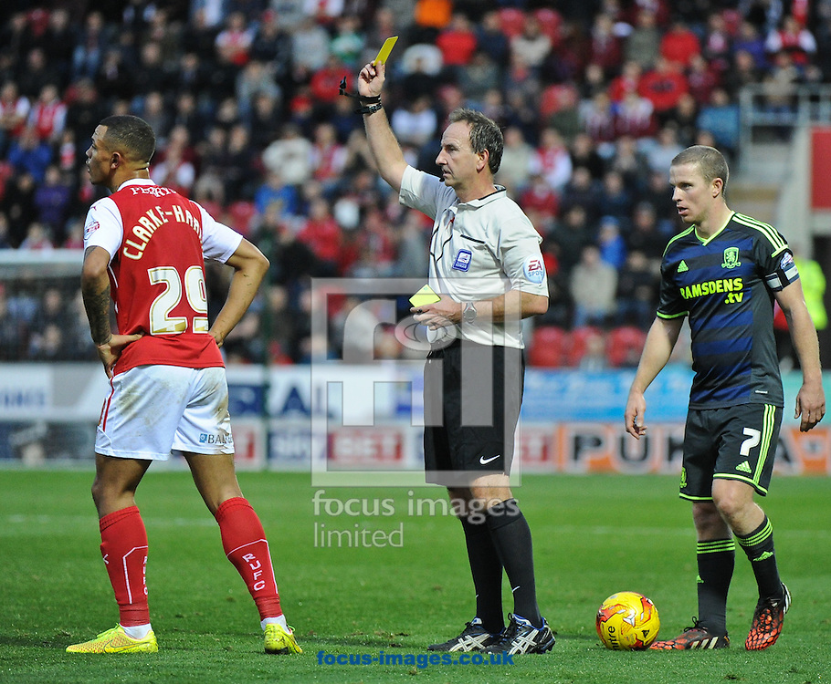 Jonson Clarke-Harris of Rotherham United is booked by Referee Mick Russell during the Sky Bet Championship match at the New York Stadium, Rotherham<br /> Picture by Richard Land/Focus Images Ltd +44 7713 507003<br /> 01/11/2014