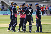 England players celebrate the wicket of Andrew Balbirnie of Ireland during the One Day International match between England and Ireland at the Brightside County Ground, Bristol, United Kingdom on 5 May 2017. Photo by Andrew Lewis.
