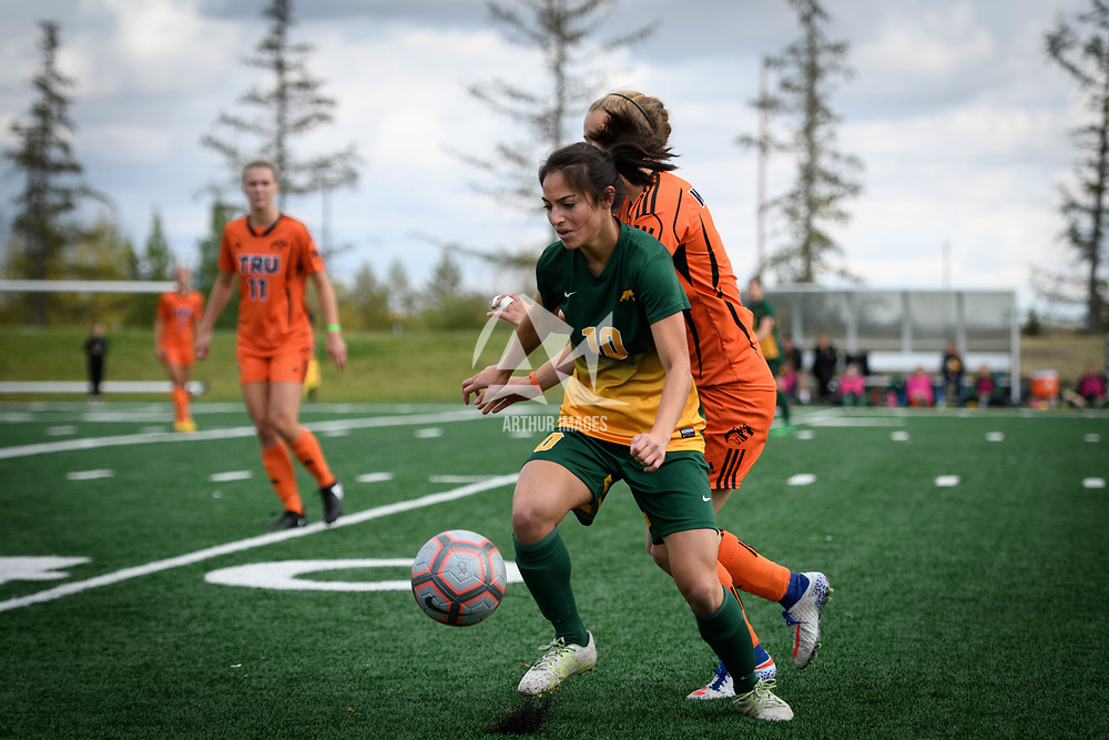 3rd year midfielder Brigit Sinaga (10) of the Regina Cougars during the Women's Soccer home game on September 17 at U of R Field. Credit: Arthur Ward/Arthur Images