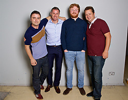LIVERPOOL, ENGLAND - Friday, September 9, 2016: Andy Heaton, Jamie Carragher, Simon Hughes and John Gibbons during the launch of Ring of Fire - Liverpool FC into the 21st century the players' story at Mountford Hall. (Pic by David Rawcliffe/Propaganda)
