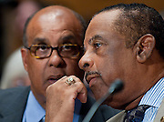 Jul 29, 2010 - Washington, District of Columbia, U.S., -.THURMAN HIGGINBOTHAM, former deputy superintendent of Arlington National Cemetery, confers with his attorney as appears before a Senate Homeland Security and Governmental Affairs Committee hearing about mismanagement  at Arlington National Cemetery. (Credit Image: © Pete Marovich/ZUMA Press)