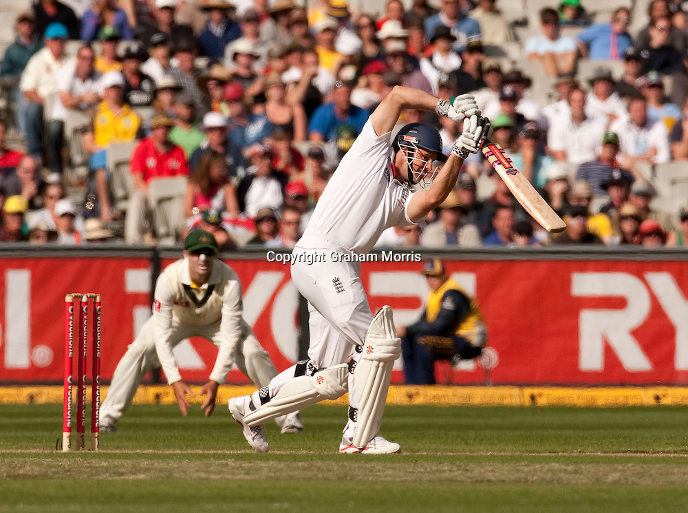 Andrew Strauss bats during the fourth Ashes test match between Australia and England at the MCG in Melbourne, Australia. Photo: Graham Morris (Tel: +44(0)20 8969 4192 Email: sales@cricketpix.com) 26/12/10