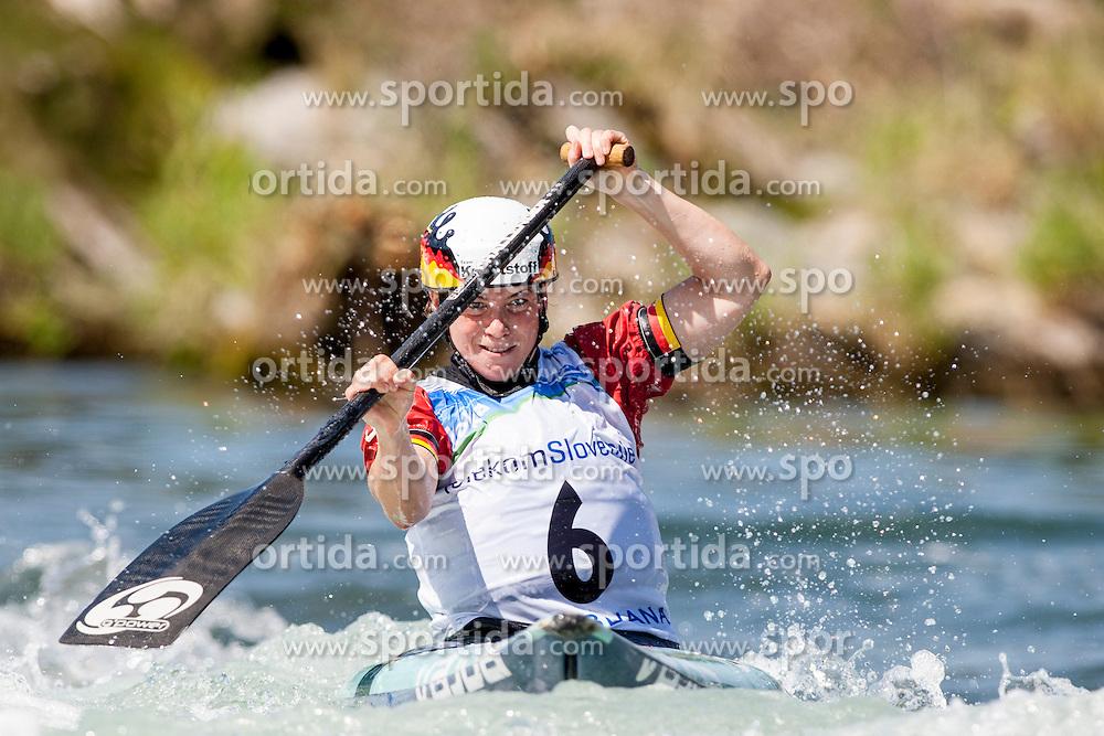 Lena Stoecklin of Germany during Canoe(C1) Women semi-final race at ICF Canoe Slalom World Cup Sloka 2013, on August 17, 2013, in Tacen, Ljubljana, Slovenia. (Photo by Urban Urbanc / Sportida.com)