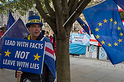 On the day that the EU in Brussels agreed in principle to extend Brexit until 31st January 2020 (aka 'Flextension') and not 31st October 2019, Remain personality Steve Bray looks towards a Brexit protest outside parliament, on 28th October 2019, in Westminster, London, England.