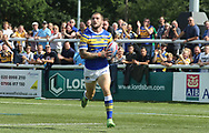 Luke Briscoe of Leeds Rhinos races away to score the try against London Broncos during the Super 8s Qualifiers match at Trailfinders Sports Club, Ealing<br /> Picture by Stephen Gaunt/Focus Images Ltd +447904 833202<br /> 19/08/2018