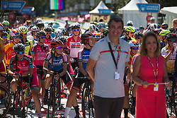 Riders wait for the start of Stage 2 of the Madrid Challenge - a 100.3 km road race, starting and finishing in Madrid on September 16, 2018, in Spain. (Photo by Balint Hamvas/Velofocus.com)