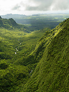 Wailua River - Aerial view of Kauai, Hawaii on a cloudy day.