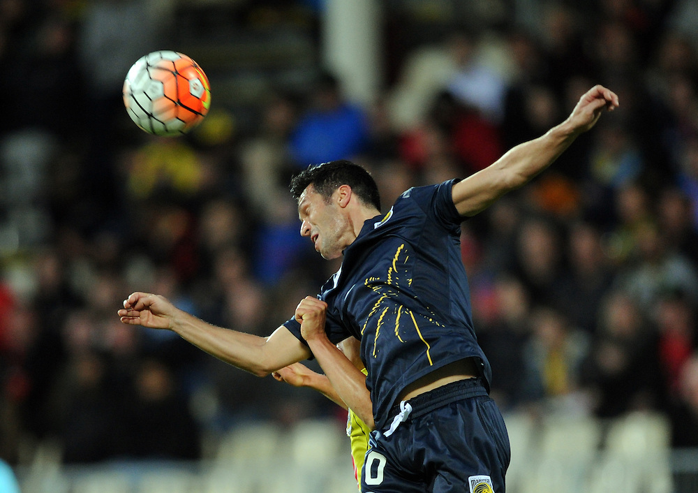 Central Coast Mariners' Luis Garcia heads the ball against the Phoenix in the A-League football match at AMI Stadium, Christchurch, New Zealand, Saturday, January 30, 2016. Credit:SNPA / Ross Setford