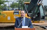 Sam Sarabia comments during a groundbreaking ceremony for new Sam Houston Math, Science and Technology Center School, March 24, 2017.