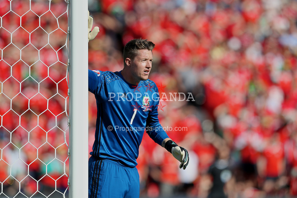 PARIS, FRANCE - Saturday, June 25, 2016: Wales' goalkeeper Wayne Hennessey in action against Northern Ireland during the Round of 16 UEFA Euro 2016 Championship match at the Parc des Princes. (Pic by David Rawcliffe/Propaganda)