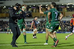 November 3, 2018 - Galway, Ireland - Colby Fainga'a (7) of Connacht celebrates scoring during the Guinness PRO14 match between Connacht Rugby and Dragons at the Sportsground in Galway, Ireland on November 3, 2018  (Credit Image: © Andrew Surma/NurPhoto via ZUMA Press)