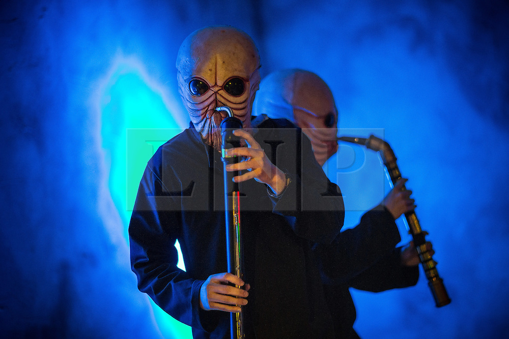"© Licensed to London News Pictures . 06/12/2015 . Manchester , UK . The cantina band . Fans attend Star Wars exhibition "" For the Love of the Force "" at Bowlers Exhibition Centre in Manchester . Photo credit : Joel Goodman/LNP"
