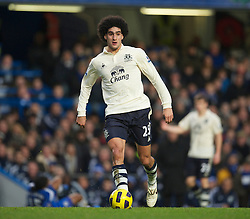 LONDON, ENGLAND - Saturday, December 4, 2010: Everton's Marouane Fellaini in action against Chelsea during the Premiership match at Stamford Bridge. (Pic by: David Rawcliffe/Propaganda)