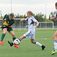 3rd year forward Brianna Wright (7) of the Regina Cougars takes a long shot on goal during the Women's Soccer home game on September 11 at U of R Field. Credit: Arthur Ward/Arthur Images
