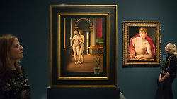 "© Licensed to London News Pictures. 28/02/2019. LONDON, UK. Staff members view (L to R) ""Lover in an Interior"" before 1497 by Jacometto Veneziano or close follower and ""Saint Sebastian"" c1533 by Agnolo Bronzino. Preview of ""The Renaissance Nude"", an exhibition at the Royal Academy of Arts in Piccadilly of 90 works examining the emergence of the nude in European art.  Works by artists including Leonardo da Vinci to Michelangelo are on display in the Sackler Galleries 3 March to 2 June 2019.  Photo credit: Stephen Chung/LNP"