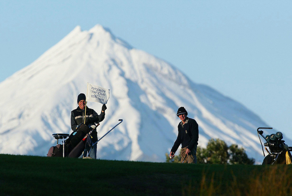 Two men dressed for their mid-winter round of golf at Fitzroy Golf Club, New Plymouth, New Zealand, June 11, 2003.Credit:SNPA / Rob Tucker