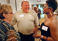 19 JUNE 2010 -- MARYLAND HEIGHTS, Mo. -- Jim Sefrit (center) and his wife Sue Sefrit talk with Parkway North High School graduate Taneisha Conway (right, CQ) during the Parkway North High School Class of 2000 reunion at the Sheraton Westport Plaza in Maryland Heights, Mo. Saturday, June 19, 2010. Jim Sefrit was the principal at Parkway North in 2000. He has since moved to Westminster Christian Academy. Image © copyright 2010 by Sid Hastings.