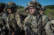 Image shows Officer Cadets from Royal Military Academy Sandhurst (RMAS) participating in Exercise Dynamic Victory with American Army Officer cadets from West Ppoint on Hohenfels Training Area in Germany.<br /> <br /> 20/07/2016<br /> Credit should read: Cpl Mark Larner RY<br /> <br /> Exercise Dynamic Victory is the last of three accumulative confirmation exercises of the 44 week commissioning course bofore officer cadets are given their commission and proceed to Phase 2 trade training. It tests the cadets suitability to become junior officers in the field army. The skills and drills the Officer Cadets have learned over the previous terms are brought together, forcing the cadets to work in an arduous overseas environment whilst thinking about more than just basic soldiering.
