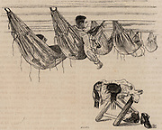 Cadets at the Ecole Navale, the French Naval Academy in their hammocks in which they slept.   From 'Le Journal de la Jeunesse' (Paris, c1870).  Engraving.