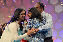 June 1, 2017 - National Harbor, Maryland, United States - ANANYA VINAY of Fresno California celebrates with her family after winning the 2017 Scripps National Spelling Bee in National Harbor Maryland. (Credit Image: © Christopher Levy via ZUMA Wire)