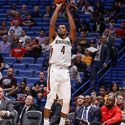 Oct 3, 2017; New Orleans, LA, USA; New Orleans Pelicans guard Charles Cooke (4) shoots against the Chicago Bulls during the second half of a NBA preseason game at the Smoothie King Center. The Bulls defeated the Pelicans 113-109. Mandatory Credit: Derick E. Hingle-USA TODAY Sports