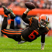 Cleveland Browns quarterback Baker Mayfield (6) during an NFL regular season football game against the Baltimore Ravens on Sunday, Oct. 7, 2018 in Cleveland. The Browns won in overtime, 12-9. (Ric Tapia via AP)