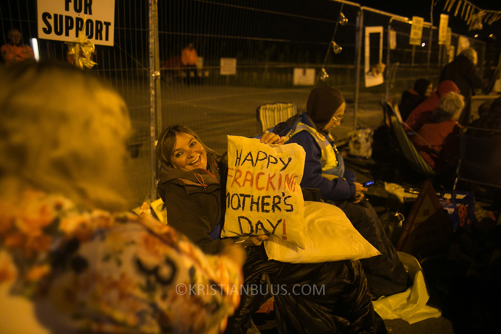 Miranda Cox, shortly before the blockade. 13 local activists locked themselves in specially made arm tubes to block the entrance to Quadrilla's drill site in New Preston Road, July 03 2017, Lancashire, United Kingdom. The 13 activists included 3 councillors; Julie Brickles, Miranda Cox and Gina Dowding and Nick Danby, Martin Porter, Jeanette Porter,  Michelle Martin, Louise Robinson,<br /> Alana McCullough, Nick Sheldrick, Cath Robinson, Barbara Cookson, Dan Huxley-Blyth. The blockade is a response to the emmidiate drilling for shale gas, fracking, by the fracking company Quadrilla. Lancashire voted against permitting fracking but was over ruled by the conservative central Government. All the activists have been active in the struggle against fracking for years but this is their first direct action of peacefull protesting. Fracking is a highly contested way of extracting gas, it is risky to extract and damaging to the environment and is banned in parts of Europe . Lancashire has in the past experienced earth quakes blamed on fracking.